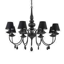 black chandelier with black shades