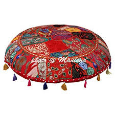Image Hippie Ethnic Cotton Indian Floor Pillows Cover Vintage Embroidered Patchwork Re 32quot Hassock Floor Cushions Seating Amazoncom Amazoncom Ethnic Cotton Indian Floor Pillows Cover Vintage