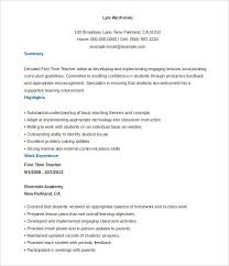 Part Time Teacher Resume Do 5 Things