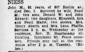 Obituary for John NIESS M - Newspapers.com