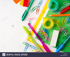colorful office accessories. Stationery Colorful Writing Tools Accessories Pens Pencils, Color Paper. Back To School. Office Supplies Products