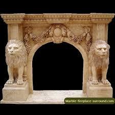 lion statue fireplace mantel