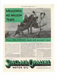 vine 1932 sinclair opaline motor oil oklahoma dinosaur ad print