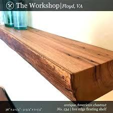 36 inch floating wood shelf wall white shelves chestnut live edge reclaimed of re shel