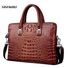 senarai harga real cow leather men s briefcase luxury crocodile pattern cowhide leather briefcase male shoulder bag commercial business bags terbaru di