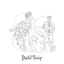 Digital Stampclipartline Artfashion Couplelovecouple Graphicsdigi Stampdigistampart Printfashion Illustration Instant Download