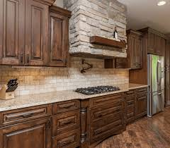 kitchen with stone backsplash wooden cabinet fancy blue brick wall tile white wooden countertop light gray wooden counter