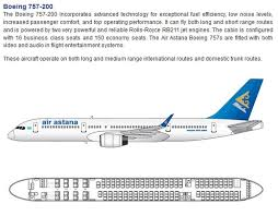 Boeing 757 Seating Chart Us Airways Air Astana Airlines Boeing 757 200 Aircraft Seating Chart