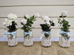 Decorated Jars For Weddings Homemade Mason Jars Wedding Centerpieces Wedding Party 4