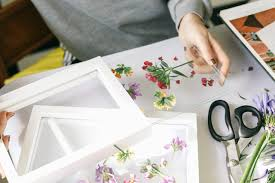 after the flowers are glued on add on the second piece of glass and slide into your frame
