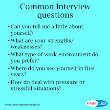 Common Interview Questions English Language Esl Efl Learn