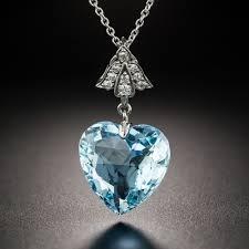 vintage aquamarine heart diamond platinum pendant previous to enlarge photo