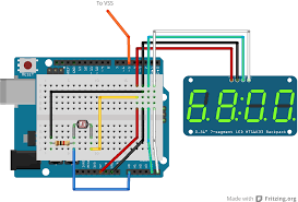 matthew mcmillan arduino digital speedometer here is a fritzing diagram of the wiring connect c clk on the display to analog 5 leonardo digital 3 mega digital 21