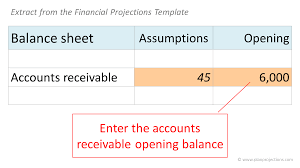 Schedule Of Accounts Receivable Template Enter Accounts Receivable Opening Balance Plan Projections