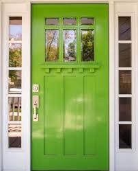 a vibrant spring green color front door