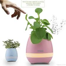 compre lámpara de la planta de la música smart flower pots recargable impermeable bluetooth altavoz inalámbrico smart touch planta piano música noche luz
