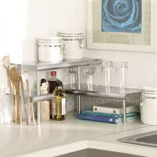Kitchen Countertop Storage Marimac Deluxe Two Tier Kitchen Counter Corner Shelves In Satin