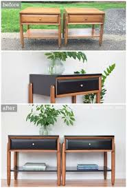 mid century modern furniture restoration. before u0026 after satin black and walnut mid century modern la period nightstands furniture restoration