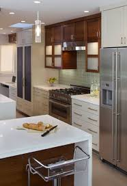 modern cherry kitchen cabinets. Modern White \u0026 Cherry Kitchen Design With Glossy Lacquer Cabinets Island, Quartz Counter Tops, Pulls