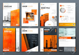 Graphic Design Process Book Template Cover Design Set Orange Corporate Business Template For Brochure