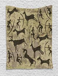 ambesonne tribal tapestry by petrography rock art carving prehistoric ancient folk icons primitive design  on rock art wall hanging with amazon ambesonne tribal tapestry by petrography rock art