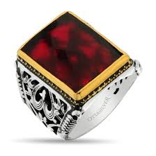 Silver Stone Ring Designs Red Crystal Stone Men Ring Ottasilver