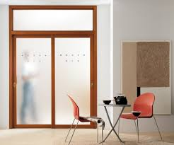 frosted glass sliding doors with brown wooden frame and handler plus window on the top placed on the white wall
