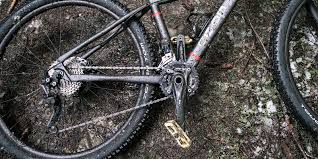 a wet and muddy mountain bike lying on the forest floor