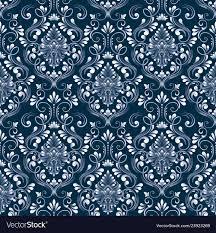 Blue damask seamless pattern background ...