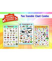 Combo Of Three Wall Chart Of Hindi Varnamala Insects Aquatic Animals