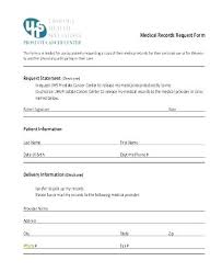 Request For Medical Records Form Template Medical Record Form Template