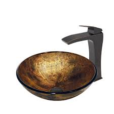 vigo copper shapes glass vessel sink and blackstonian faucet set in antique rubbed bronze finish free modern bathroom