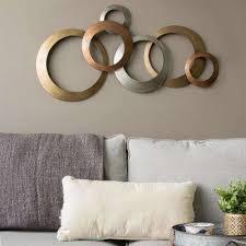 multi metallic rings metal wall decor