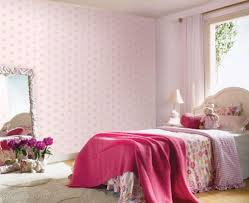 Pink Wallpaper For Bedroom Baby Pink Wallpaper Girls Bedroom With Flower Decor Pink Color