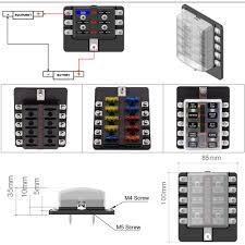 10 way blade fuse box block holder led indicator for 12v 24v car 12 volt fuse block with ground at Dc Fuse Box