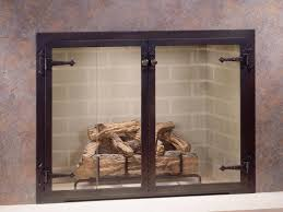 image of fireplace screens with glass doors design