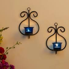 t lite holders wall sconce with blue glass and free t light candles set of 2