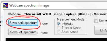source and press the save dark spectrum on from the webcam image window afterwards activate use dark spectrum from the spectrometer menu