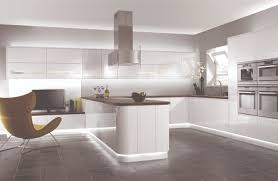 Contemporary Floor Tile Contemporary White Kitchen With Glossy Wall Cabinets And Concrete