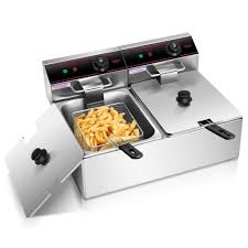5000w electric countertop deep fryer dual tank commercial restaurant steel only