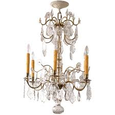 swedish rococo style crystal chandelier with six lights