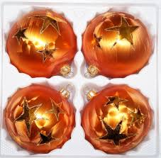 4 Tlg 12cm Glas Weihnachtskugeln Set 12cm ø In Ice Orange Gold Goldener Stern