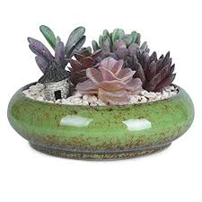7 3 inch vine round ceramic planter pots blue glazed succulent holder bonsai flower vase garden decorative