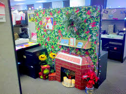 decoration of office. Fireplace With Candles And Majestic Christmas Decoration In Office Of