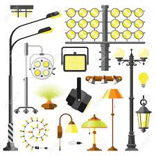 different styles of furniture. Lamps Styles Design Electricity Light Furniture, Different Types Electric Equipment Vector Illustration. Of Furniture