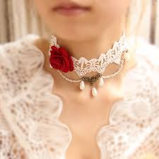 New Hand made <b>Necklace</b> Royal Bride Lace <b>Pearl Necklace Rose</b> ...