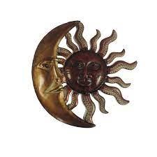 benzara sun moon bronze and red metal