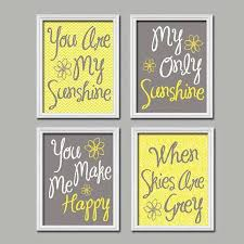 blue and yellow wall decor best of yellow gray you are my sunshine wall art canvas