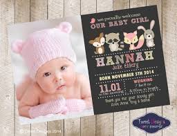 Baby Thankyou Birth Announcement Girl Printable Baby Thankyou Card Woodland