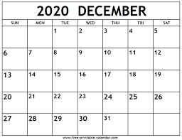 December 2020 Calendar Free Printable Calendar Com
